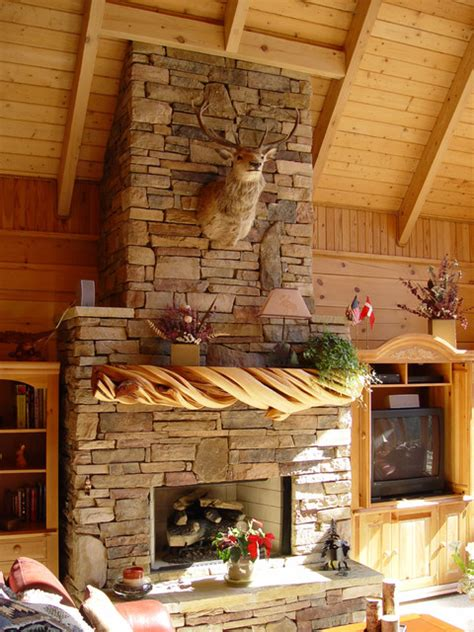 Country French Living Rooms Houzz by Rustic Stone Fireplace Mantel Rustic Living Room