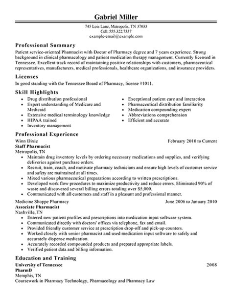 Best Pharmacist Resume Example Livecareer