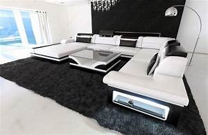 Design sectional sofa mezzo xxl with led lights white black for Sofa eck couch led