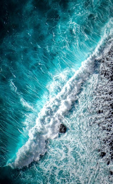 ocean waves foam top view wallpapers