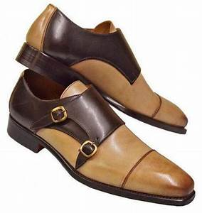 New Handmade Tan Brown Leather Shoes  Men U0026 39 S Double Monk