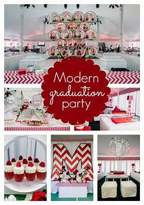 Modern Red Chevron Graduation Party - Pretty My Party