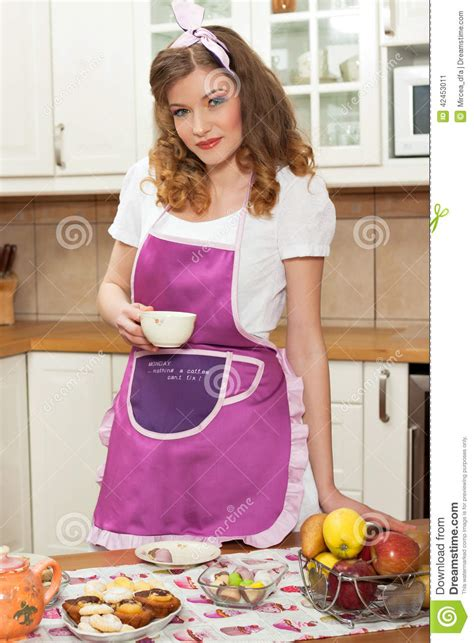 woman   kitchen stock image image  diet happy