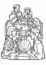 Coloring Dinner Together Thanksgiving Coloringsky Sky sketch template