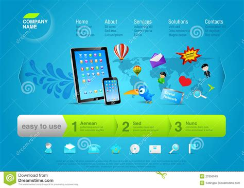 Website Promotion by Website Template Promo Your Product Royalty Free Stock