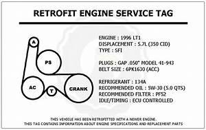 1996 Lt1 5 7l Impala Ss Retrofit Engine Service Tag Belt Routing Diagram Decal