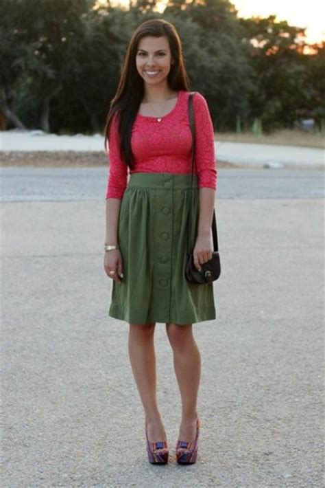 Picture Of Outfit wth olive green skirt and colored shirt