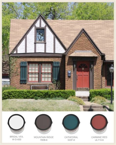 behr tudor with half timbering and red front door home