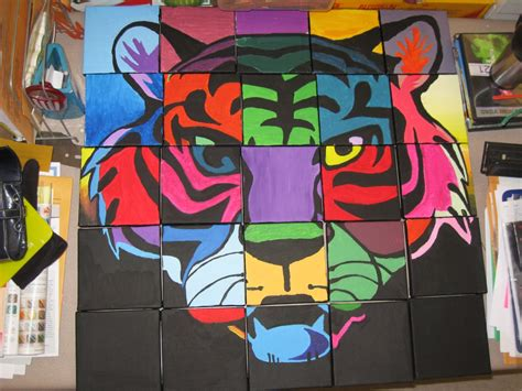 School Mascot Class Mural On Twenty-five -6x6 Inch Canvas
