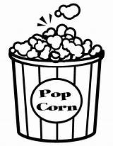 Coloring Popcorn Pages Drawn sketch template
