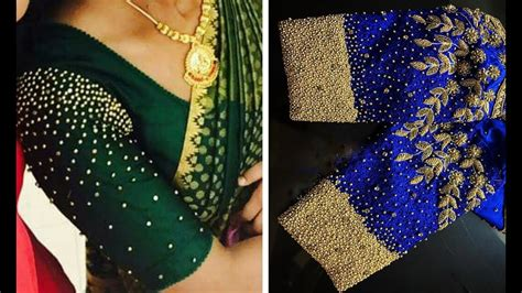 latest bead work blouse designs  party wear saree