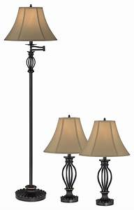 traditional aley set of 3 black iron cage floor and table With traditional floor lamp with matching table lamp