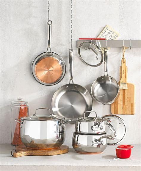 belgique copper bottom  pc cookware set   macys cookware sets macys cookware