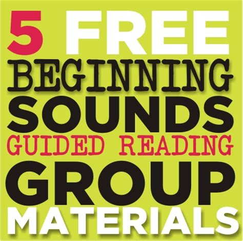 Beginning Sounds  5 Guided Reading Skill Group Materials {printable} Kindergartenworks