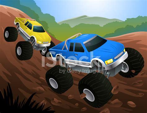 monster trucks races cartoon two cartoon monster trucks racing on dirt track stock