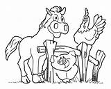 Coloring Farm Pages Horse Pig Animal Activities Fence Crafts Diy Hen Sounds sketch template