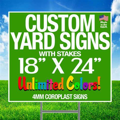 custom backyard signs 10 18x24 color yard signs custom 2 sided stakes ebay