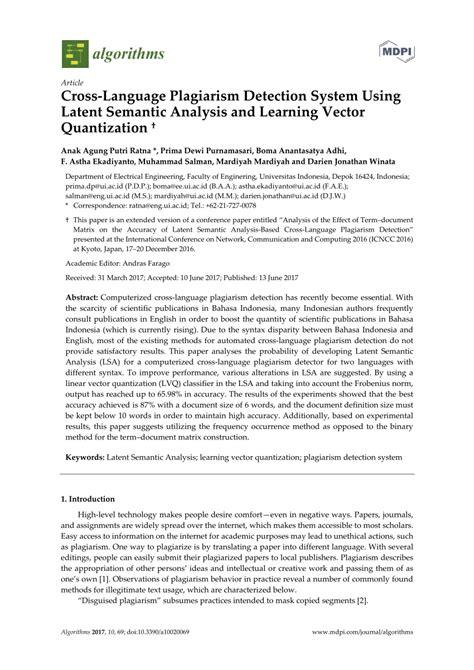 (PDF) Cross-Language Plagiarism Detection System Using