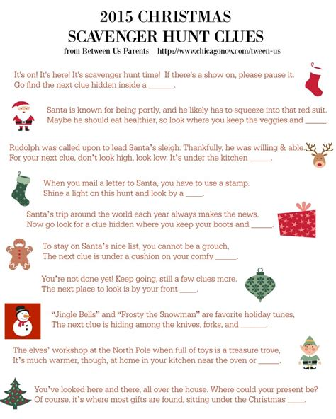 printable christmas scavenger hunt clues 2015 edition
