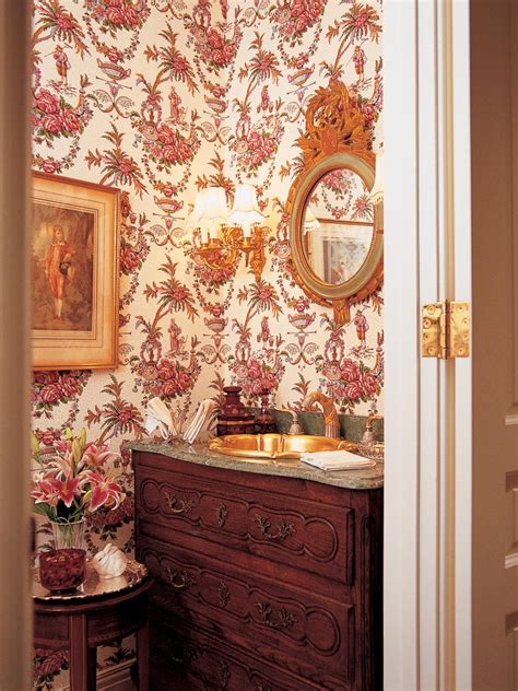 victorian powder room with red floral wallpaper hgtv