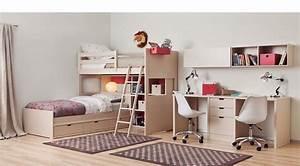 Lit Bureau Enfant : lit mezzanine enfant avec double bureau et rangement ~ Farleysfitness.com Idées de Décoration
