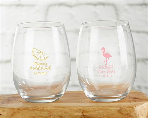 Personalized Stemless Wine Glass Bridal Shower Favors
