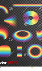 Vector Realistic 3d Shaped Rainbow Forms On Dark ...