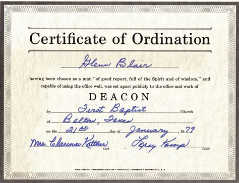 ordination certificate template the family history of billy blair robert glenn wanda jeannine digby blair story hill
