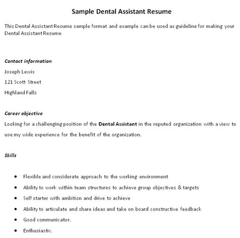 Exle Of Dental Assistant Resume With No Experience by Impressive Dental Assistant Resume And Self Starter With Ambition Expozzer