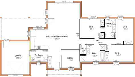 plan maison a etage 3 chambres plan de maison 100m2 3 chambres plan de maison rectangle