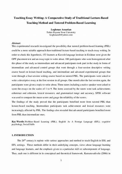 Essay Traditional Lecture Comparative Method Writing Teaching