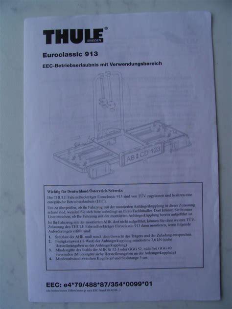 thule euroclassic 913 thule heckfahrradtr 228 ger euroclassic 913 biete