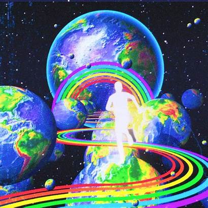 Giphy Trippy Aesthetic Planet Rainbow Space Earth