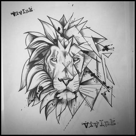 beautiful geometric lion tattoo ideas  pinterest