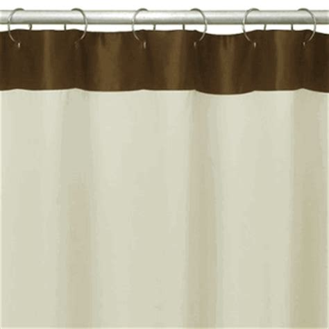 ivory beige fabric shower curtain with brown satin border