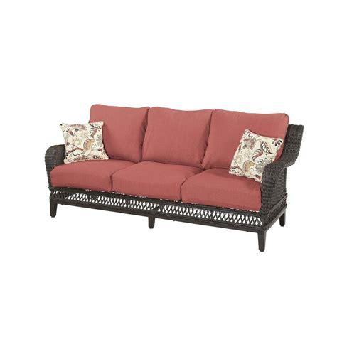 home depot sofa hton bay woodbury patio sofa with chili cushion dy9127
