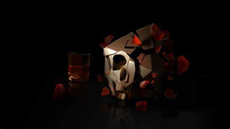 wallpaper skull  glass hd abstract