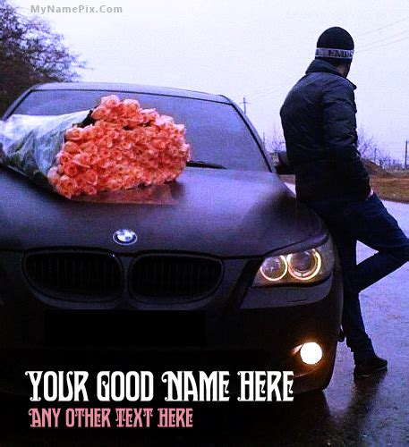 Boy Car Names by Write Your Name On Boy Waiting With Car Picture In