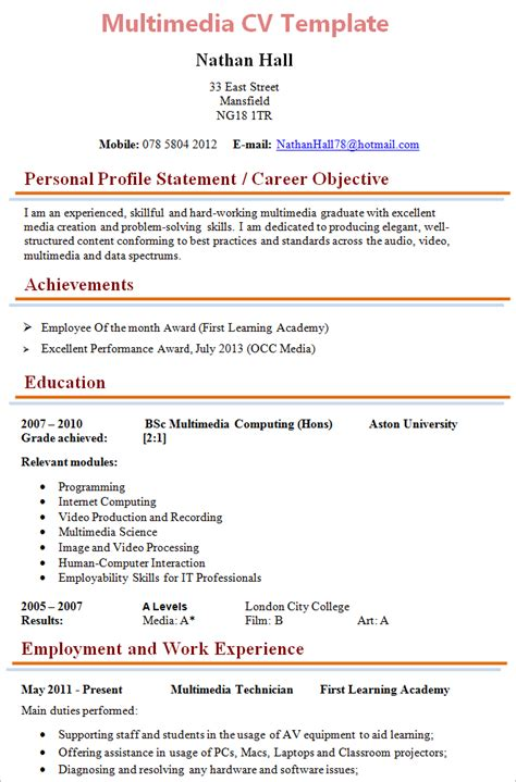 Up To Date Cv Template by Multimedia Technician Cv Template