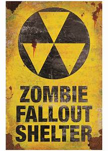 Metal Zombie Fallout Shelter Sign - Decorations