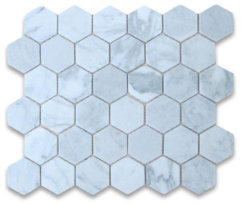 carrara white marble hexagon mosaic tile 2 inch tumbled