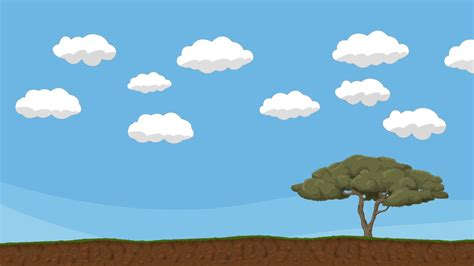 Sky Animated Wallpaper - animated cloudy sky with tree and ground motion