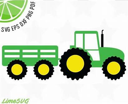 Tractor Deere Svg John Trailer Tractors Cricut