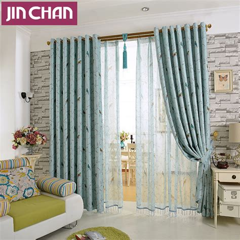 bird printed window shade thick blackout curtains for