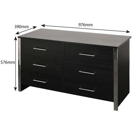 Black Wide Chest Of Drawers by Gosport Wide 6 Drawer Chest Of Drawers Black Ash