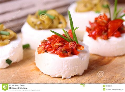 german canapes creme cheese canapes with decoration royalty free stock
