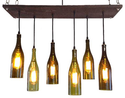 wine bottle chandelier with edison bulbs rustic