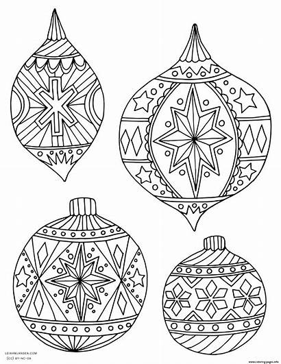 Coloring Christmas Ornaments Holiday Adult Pages Printable