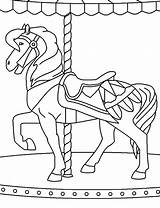 Coloring Carousel Pages Carnival Horse Ferris Wheel Horses Bumper Cars Printable Template Circus Getcolorings Playing Sketch sketch template
