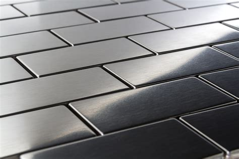 "$1095 Brick Stainless Steel Tiles 15"" X 3"" Metal Mosaic"